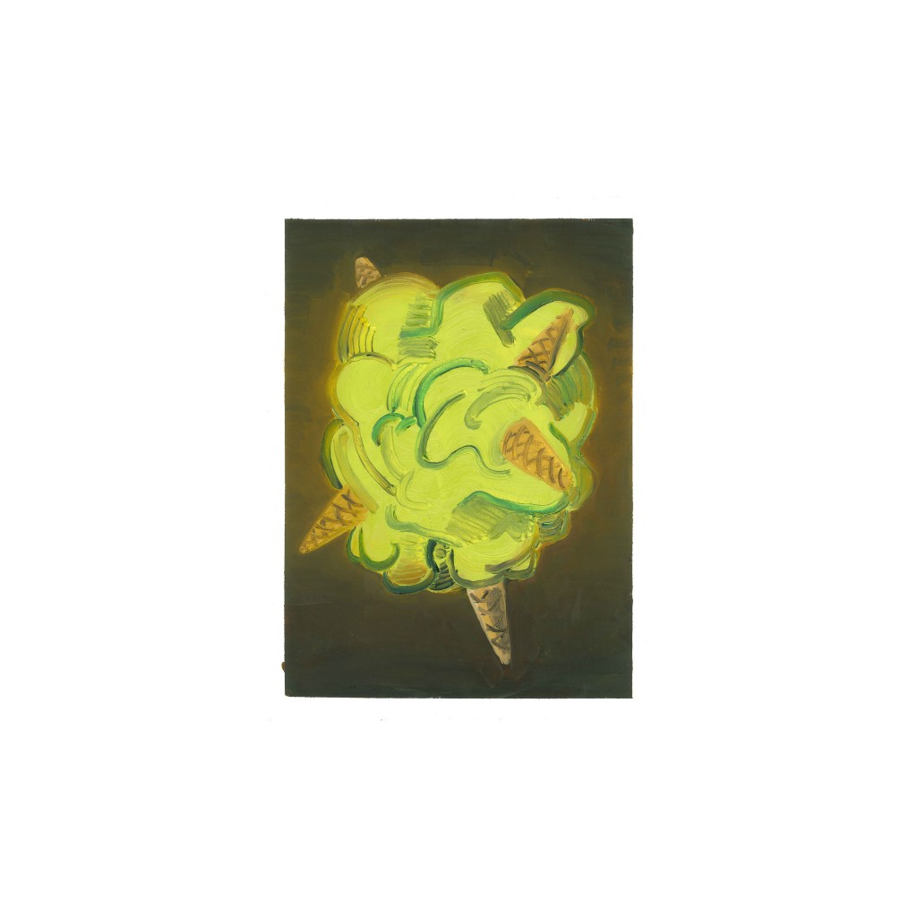 Pistacho, óleo sobre papel, 40xc30 cm., 2016.